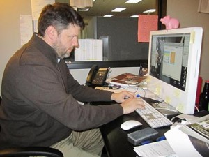 The City Paper Editor Steve Cavendish works on the weekly publication in Nashville, Tenn., Oct. 30, 2012. (Photo by Lee Roberts)