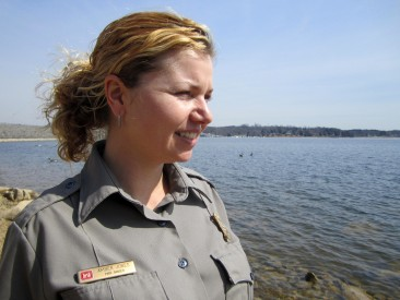 Park Ranger Amber Jones looks out across J. Percy Priest Lake in Nashville, Tenn., March 15, 2013. She works for the U.S. Army Corps of Engineers Nashville District and is always on the lookout for people's safety as they recreate on the lake. (Photo by Lee Roberts)