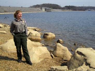 Park Ranger Amber Jones stands on the shoreline of J. Percy Priest Lake in Nashville, Tenn., March 15, 2013. (Photo by Lee Roberts)