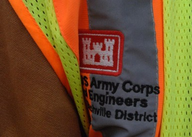 This is the Corps emblem on the safety vest of John Schnebelen, U.S. Army Corps of Engineers Nashville District safety officer, while he worked at Wolf Creek Dam March 6, 2013. (USACE photo by Lee Roberts)