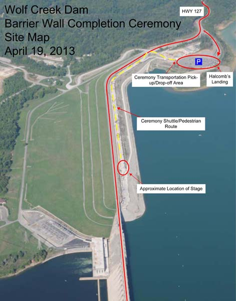 This is the event map that shows the parking area at Halcomb's Landing and the ceremony location on the Wolf Creek Dam work platform. (Photo courtesy of the U.S. Army Corps of Engineers Nashville District)