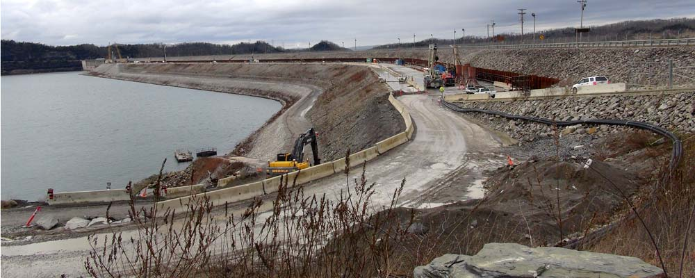 This is the work ramp at Wolf Creek Dam where the U.S. Army Corps of Engineers Nashville District plans a barrier wall completion ceremony 10 a.m. April 19, 2013. The event is open to the public. (Photo by Lee Roberts)