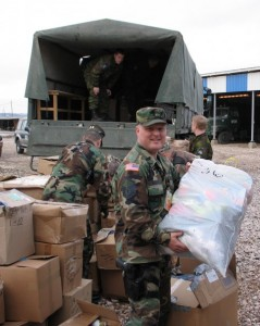 Lee supports a humanitarian mission in Kosovo in 2005.