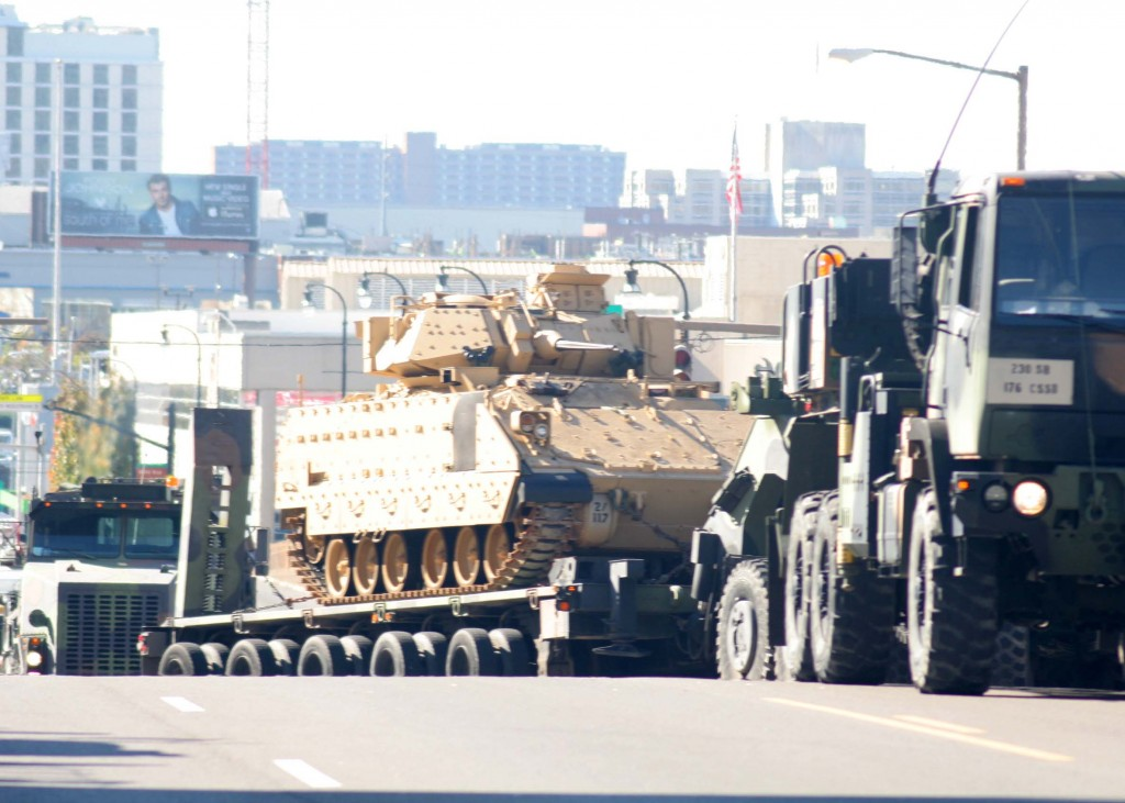 This tank makes its way down Broadway during the Nashville Veteran's Day Parade Nov. 11, 2013. (Photo by Lee Roberts)