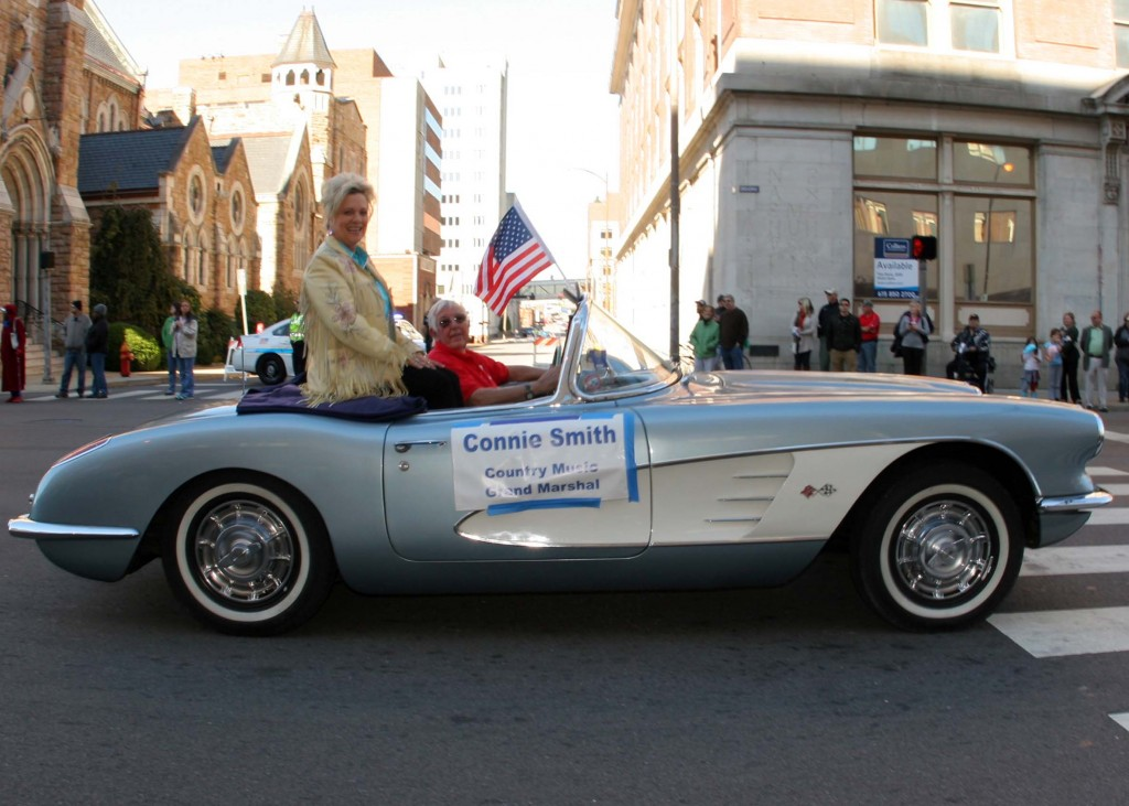 Country Music Grand Marshall Connie Smith makes her way toward lower Broadway in the annual Nashville Veteran's Day Parade Nov. 11, 2013. (Photo by Lee Roberts)