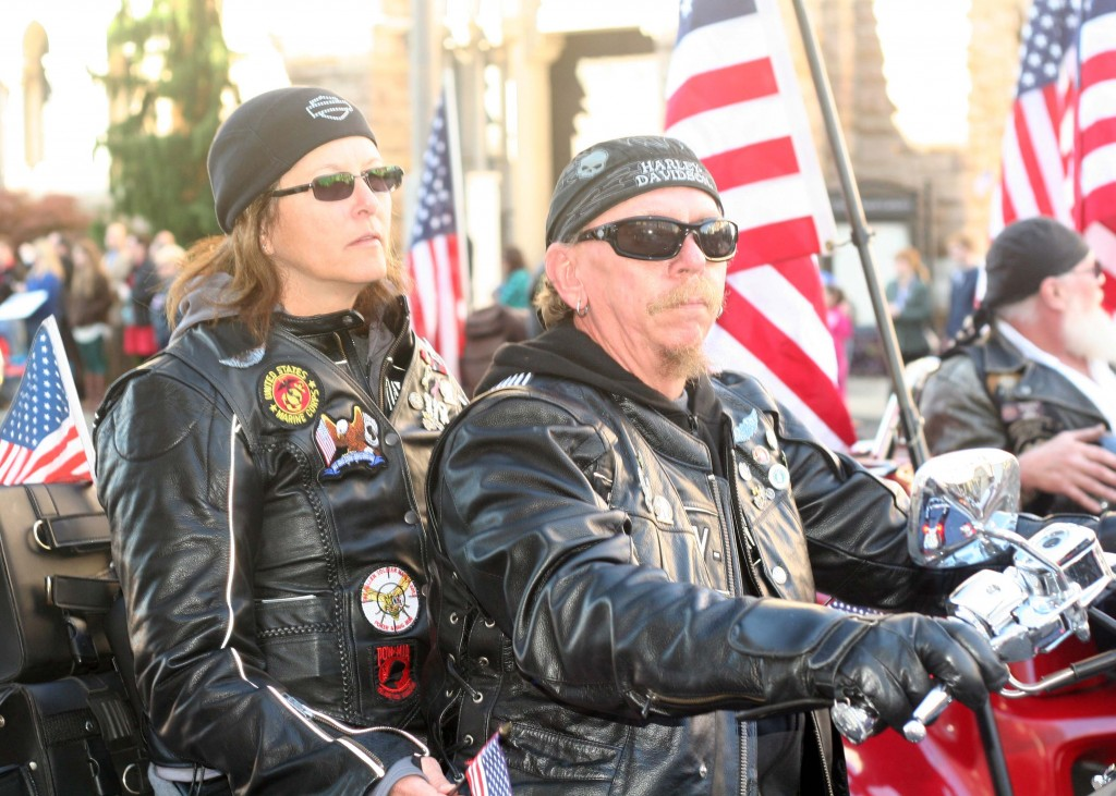 These bikers were one of many that made their way down Broadway during the Nashville Veteran's Day Parade Nov. 11, 2013. (Photo by Lee Roberts)