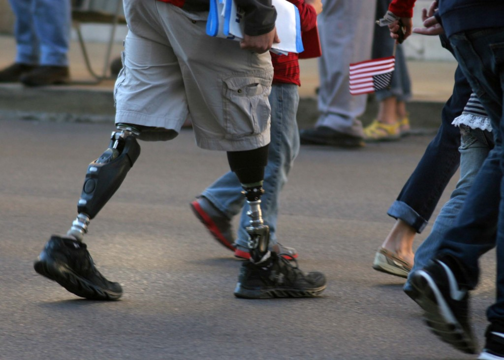 This wounded warrior walking on Broadway is why thousands of citizens honored military personnel and vets during the Nashville Veteran's Day Parade Nov. 11, 2013. (Photo by Lee Roberts)