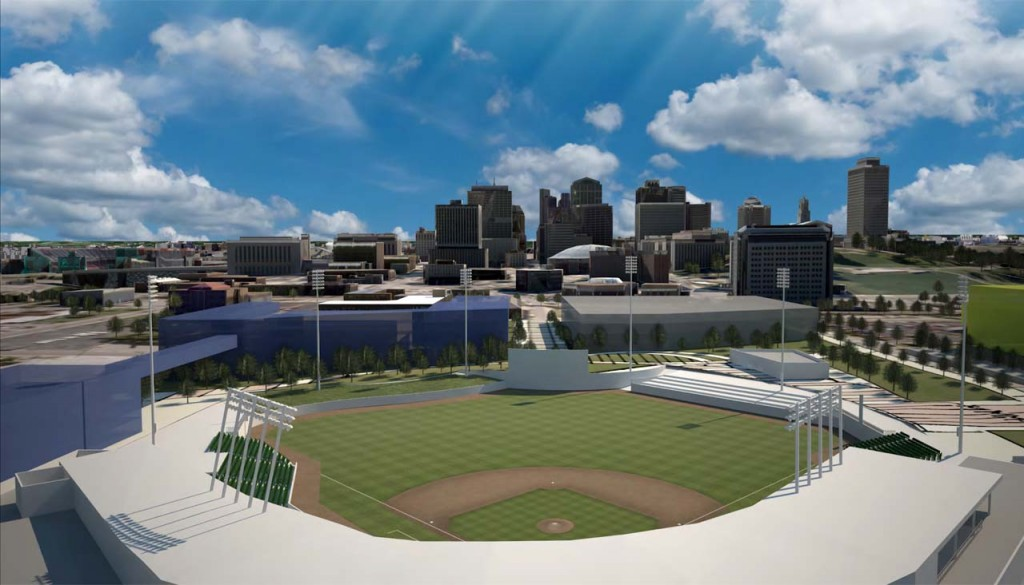 This is an artist rendering of the proposed new ballpark to be located at Sulpher Dell in Nashville, Tenn.
