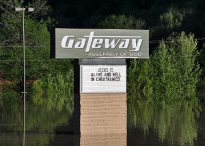 This church sign includes a positive message despite the fact that flood waters surround it during the May 2010 Flood in Cheatham County, Tennessee. (Courtesy Photo)