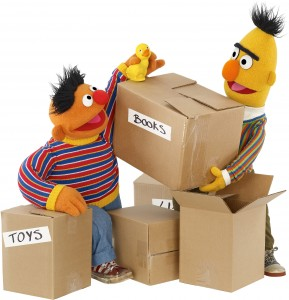 Bert and Ernie deal with the challenges of moving houses by packing their belongings as part of Sesame Street's continuing community engagement initiative for resilience among military, veteran, and general public families: Little Children, Big Challenges. (Photo credit: © 2013 Sesame Workshop - all rights reserved)