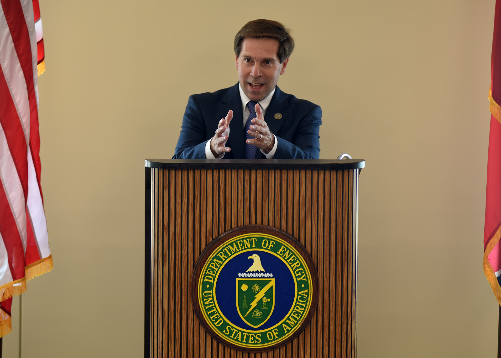 Congressman Chuck Fleischmann, Tennessee District 3, speaks during the dedication of the new Construction Support Building Nov. 20, 2017 at the Y-12 National Security Complex in Oak Ridge, Tenn. (Photo by Lee Roberts)