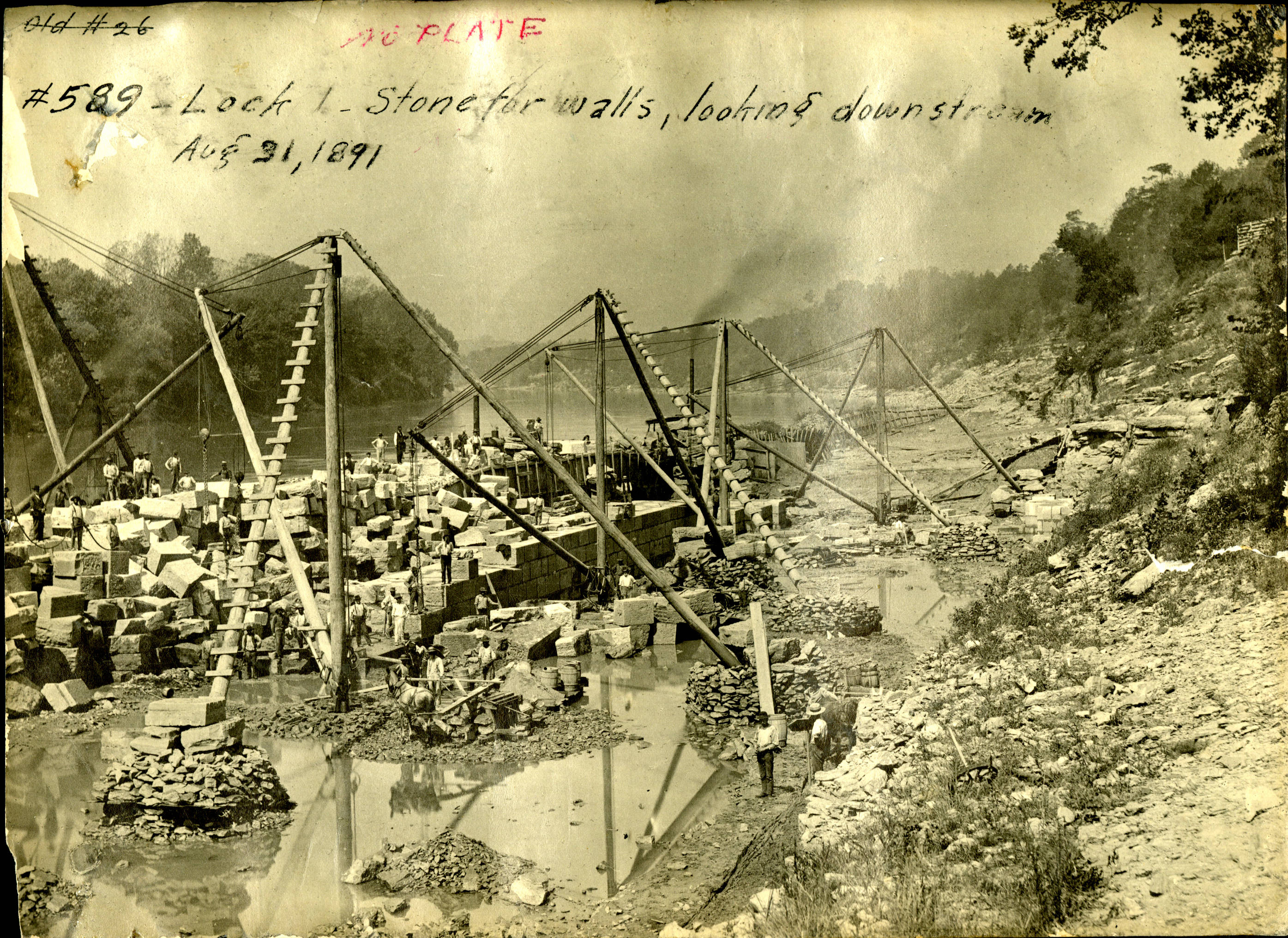 Construction is ongoing at Lock 1 on the Cumberland River in Nashville, Tenn., Aug. 31, 1891. The view shows the stone blocks for the walls looking downstream. The U.S. Army Corps of Engineers Nashville District built the lock and dam to establish a navigation channel. The old locks and dams were replaced by today's modern dams. (Photo by USACE)